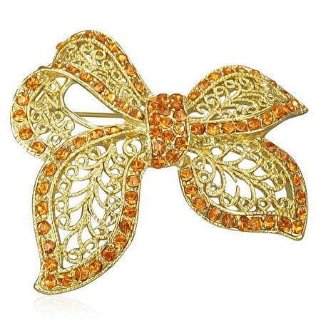 Fashion-Alloy-Filigree-Ribbon-Bow-Gold-Tone-CZ-Brooch