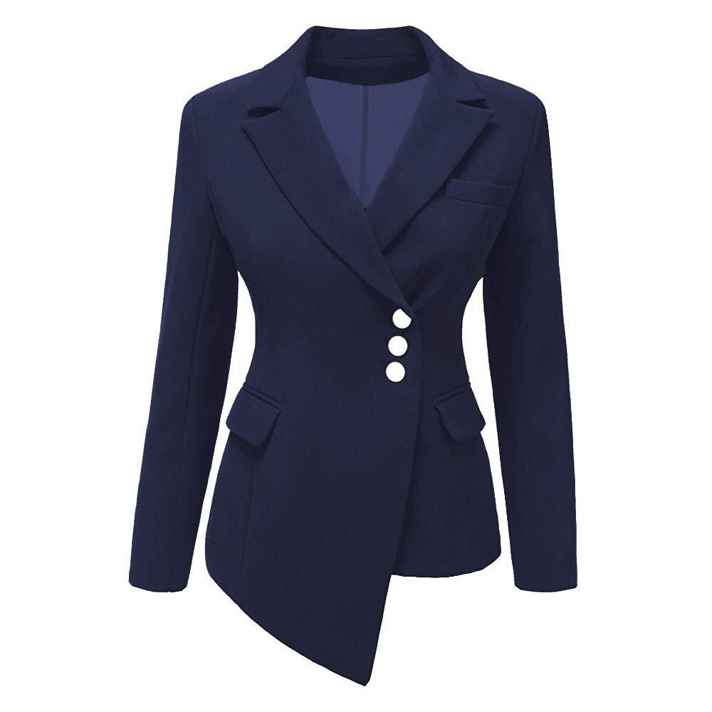 iDWZA Fashion Women Style Long Sleeve Irregular Blazer Elegant Slim Suit Coat(Blue,US XS/CN S