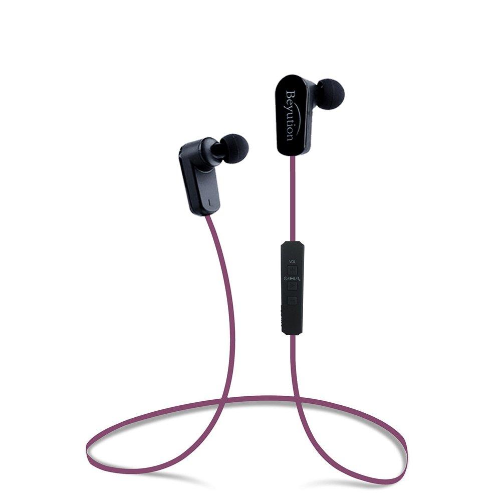 Beyution New Sports Hi-fi Bluetooth 4.1 Version Bluetooth Headphones -Mini Lightweight Wireless Stereo Sports/Running Bluetooth Earbuds Headphones Headsets Built in Mic-Phone (508s-v4.1-hot Pink)