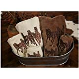 HiEnd Accents 3-Horse Embroidered Western Towel Set, Cream