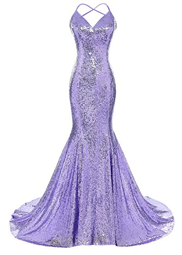 DYS Women's Sequins Mermaid Prom Dress Spaghetti Straps V Neck Backless Gowns Lavender US 12
