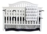 Sunny Bunny 7 Pieces Set Elephant Crib Bedding Baby Bedding Set Sweet Navy Grey Chevron Baby Nursery Crib Bumper