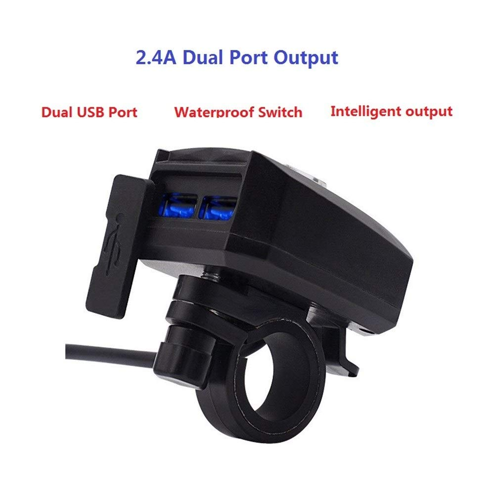 GM_QY Motorcycle Modification Mobile Phone Charger Dual USB Car Charging Waterproof Fast Charge Faucet Car Charger