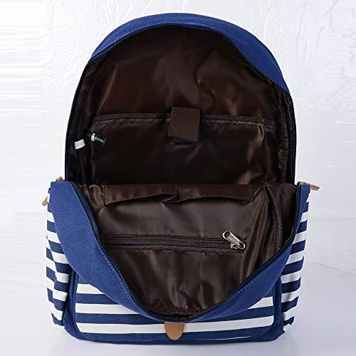 Azul y para Lona 3 libre Mano Bolsos Conjunto la para Bolsillo Mujeres de Mochila,Bolso de excursión de Casual aire acampada de Hombro Escolar al LITTHING w7S07