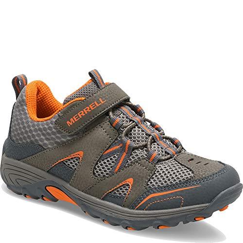 Merrell Kids' Unisex M-Trail Chaser Sneaker, Gunsmoke/Orange, 4 M US Big Kid