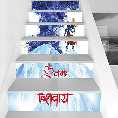 Stair Stickers Wall Stickers,6 PCS Self-adhesive,Ethnic,Powerful Divine Figure Standing on Mountain Skulls Sacred Figures Storm,Blue Baby Blue Yellow,Stair Riser Decal for Living Room, Hall, Kids Room