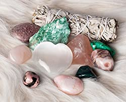Genuine Crystals for Love and Relationships / 11 pc Crystal Healing Set - Rose Quartz, Pink Aventurine, Malachite, Pink Agate, Fuchsite, Pink Opal, Rhodonite & More + Informational Guide/Gift Ready