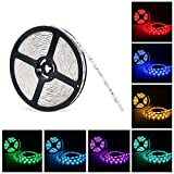 Nexlux 32.8ft LED Strip Lights Non-Waterproof White PCB Single Light Strip 5050 SMD RGB LED Flexible Strip Light White PCB Board Color Changing Decoration Lighting No power adapter and remote