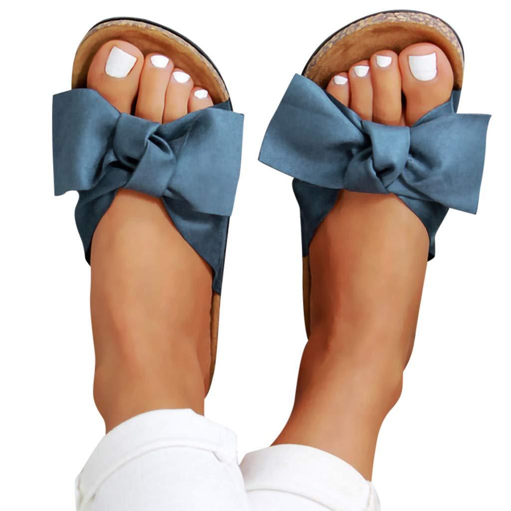 comode Larghe Saihui/_Womens Shoes Pantofole da Donna estive Piatte con Fiocco in Sughero