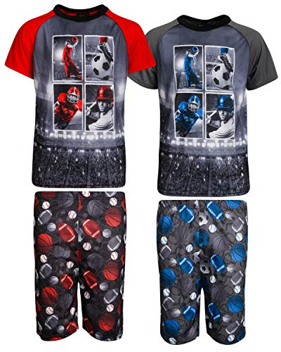 Mad Game Boys 4-Piece Sublimation Pajama Short Set (2 Full Sets), All Sports, Size -