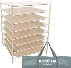 HORTIPOTS' Herb Drying Rack, 8 Layer Drying Net Dryer Stand Square 28 x 28 Inch to Dry Laundry, Clothes,Sweater, or Cure Plants Like Herb Fruit Flowers Bud Pot
