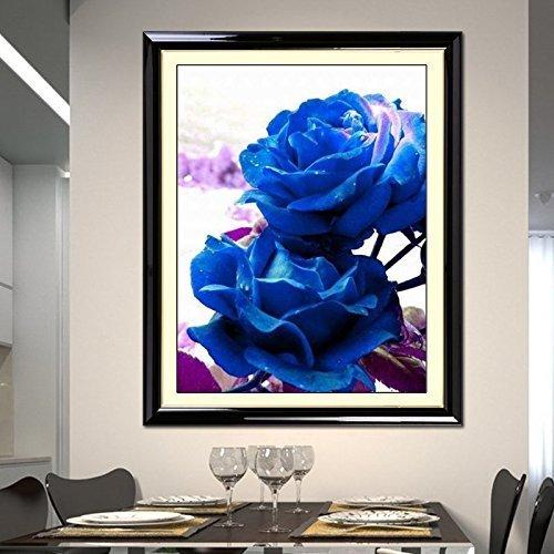 (Cross stitch, blue rose, flower, P0015)