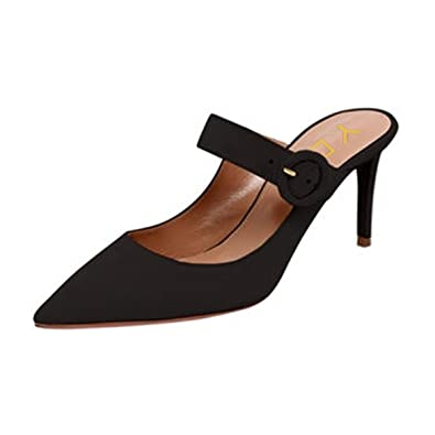 be66976da06c YDN Women s High Heel Mules Slip on Clogs Pointed Toe Stiletto Pumps Casual Shoes  Black 6