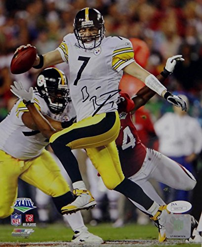 Ben Roethlisberger Signed Steelers 8x10 Running SB XLIII PF Photo- JSA Auth Black
