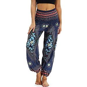 Nuofengkudu Mujer Pantalones Harem Tailandes Hippies Vintage Boho Flores Verano Alta Cintura Elastica Casual Danza Yoga…   DeHippies.com