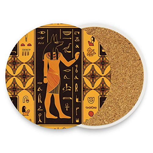 (Ancient Egypt Egyptian Character Coasters, Prevent Furniture from Dirty and Scratched, Round Cork Coasters Set Suitable for Kinds of Mugs and Cups, Living Room Decorations Gift Set of)