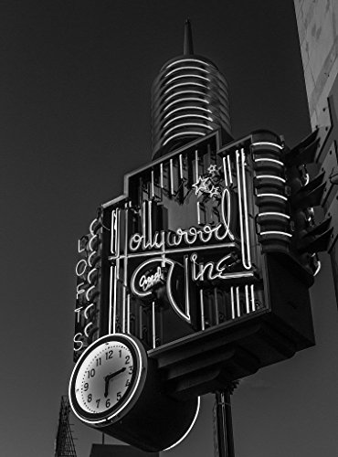 8 x 12 Black White Photo Neon Sign at Advertising, The Famous Corner Hollywood Boulevard Vine Street in The Hollywood Neighborhood Los Angeles, California 2013 Highsmith 54a