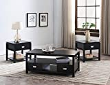 Coffee Table Sets with Storage Kings Brand Furniture 3 Piece Black Finish Wood Storage Occasional Table Set, Coffee Table & 2 End Tables