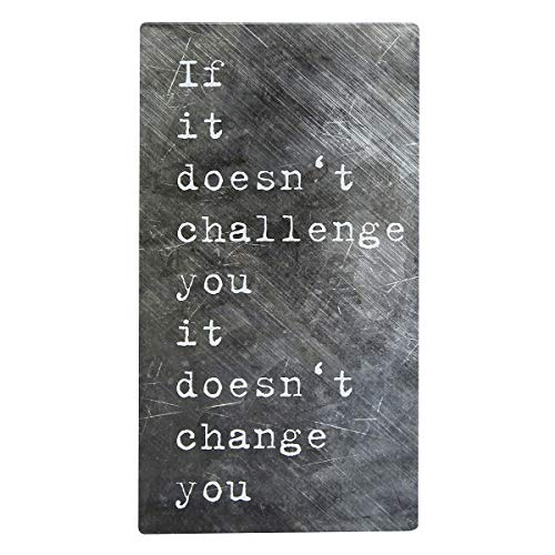 NIKKY HOME Inspirational Metal Wall Plaque Sign with Quote, If It Doesn't Challenge You It Doesn't Change ()