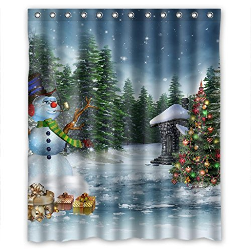 Snowman In Christmas Bathroom Waterproof Bathroom Shower Curtain Measure Measure 60