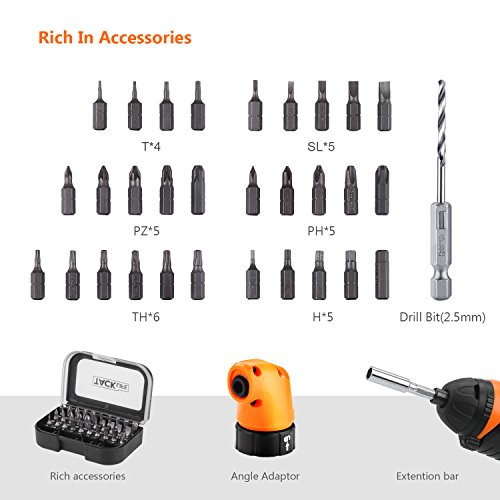 Tacklife SDP51DC Cordless Rechargeable Screwdriver 3.6-Volt 2000mAh Li-ion MAX Torque 4N.m -- LED, Right Angle Adapter, 1pc Drill Bit, 30pcs Driver Bits, USB Charging Cable