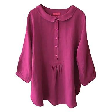 DONTAL - Blusa de Tres Cuartos para Mujer con Cuello abatible ...