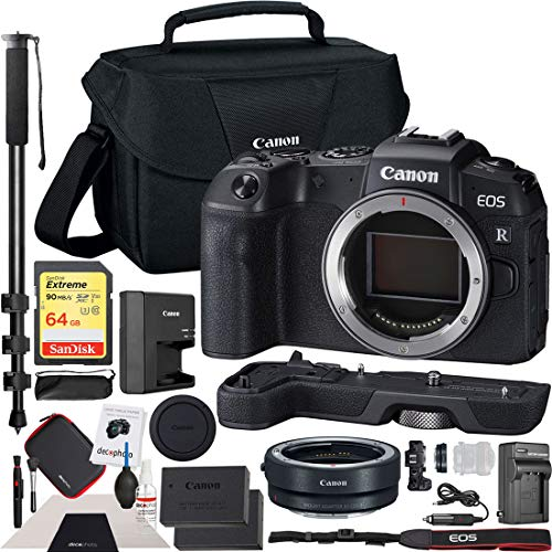 Canon EOS RP Full-Frame Mirrorless Digital Camera Body Only with EF-EOS R Lens Adapter & Extension Grip EG-E1 and Shoulder Bag Case Extra Battery Deco Gear Cleaning Kit 72
