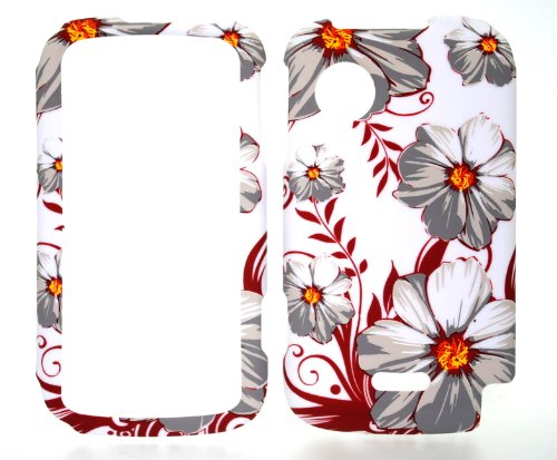Grey Flower on White Rubberized Snap on Hard Protective Cover Case for Huawei M735 (Huawei M735 Case)