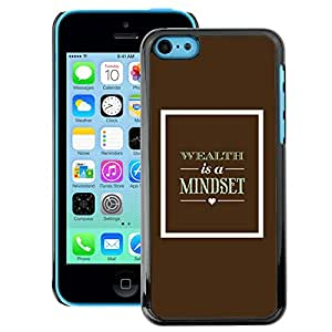A-type Arte & diseño plástico duro Fundas Cover Cubre Hard Case Cover para iPhone 5C (Brown Mindset Text Wealth Poster Retro)