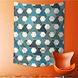 SOCOMIMI Tapestry Wall Hanging Islamic Tiles Cultural Hexagon Shape Blue Teal White Wall Tapestry for Bedroom Dorm Decor 51.1L x 59W Inches
