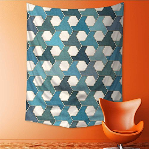 SOCOMIMI Tapestry Wall Hanging Islamic Tiles Cultural Hexagon Shape Blue Teal White Wall Tapestry for Bedroom Dorm Decor 51.1L x 59W Inches by SOCOMIMI