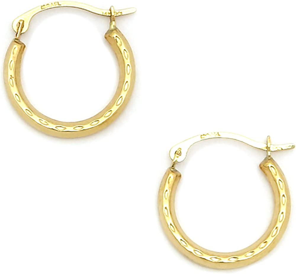 14K Yellow Gold Jewelry Stamping Earrings Solid 17 mm 17 mm Polished Round Fancy Earring Jackets