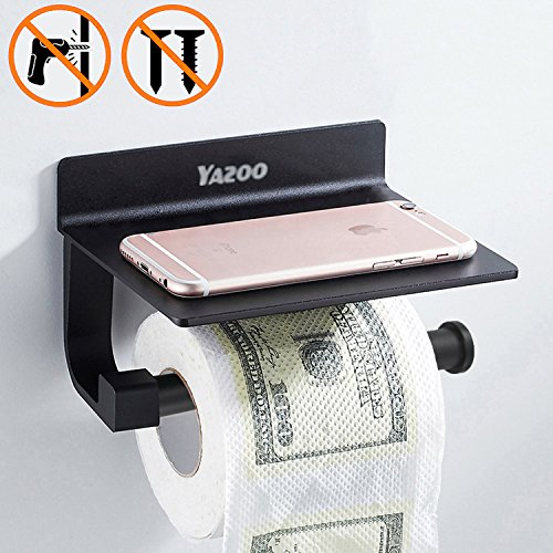 YAZOO Wall Mounted Toilet Paper Holder Black Stainless Steel Roll Holder With Mobile Phone Storage Shelf Adhesive Bathroom Accessories