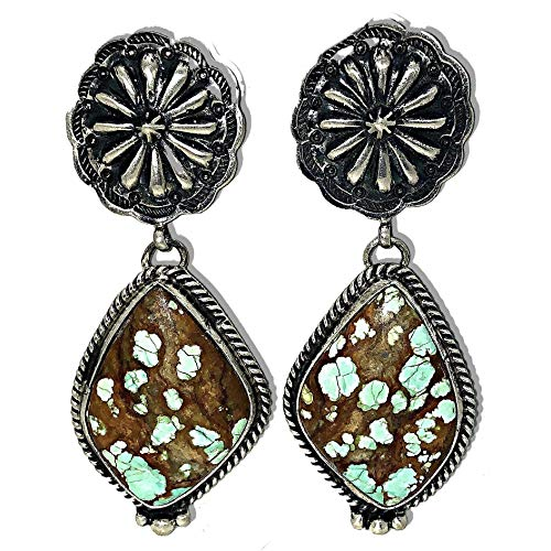 Genuine Royston Turquoise Statement Earrings in Oxidized 925 Sterling Silver, Authentic Navajo Native American Handmade and Artist Signed, Nickle Free for Sensitive Skin