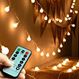 Abkshine Battery Operated Fairy Light, Battery Powered Globe Lights for Wedding Christmas Tree Decoration(Warm White,50LEDs)