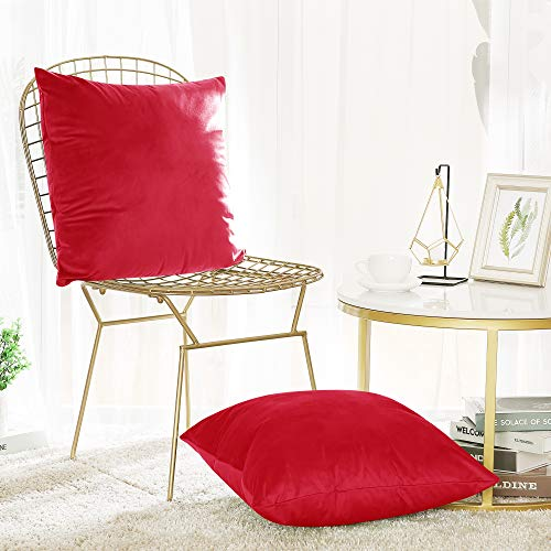 Deconovo Decorative Super Soft Luxury Velvet Throw Pillow Covers Cushion Covers for Chair Set of 20x20 Inch Red