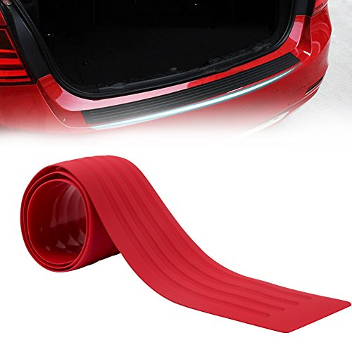 runmade Red Rubber 35.4 inch Rear Bumper Protector Guard Door Entry Sill Guard – Universal fit for Car SUV Pickup Truck Boat Non-sli Scratch-Resistant Boot Sill Protector (90 cm)