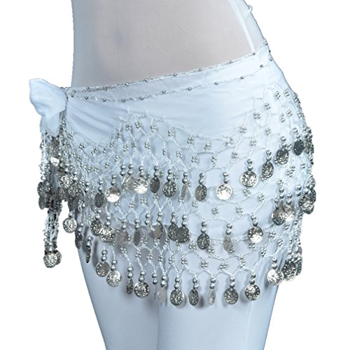 2017 Womens' 128 Silver Coins Belly Dance Hip Scarf Best Dance Gift-White