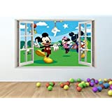 MICKEY & MINNIE MOUSE 3D Window Effect Vinyl Wall Art Sticker *GIANT SIZE* 100 x 60 cm - pw14