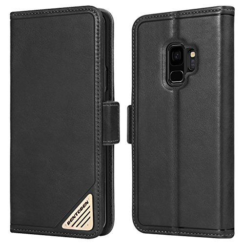 Galaxy Galaxy Wallet Case, BENTOBEN Samsung [Folio Style] [Genuine Leather] Protective Flip Leather Case Cover with Stand Function & Card Slots for Samsung Galaxy, Black