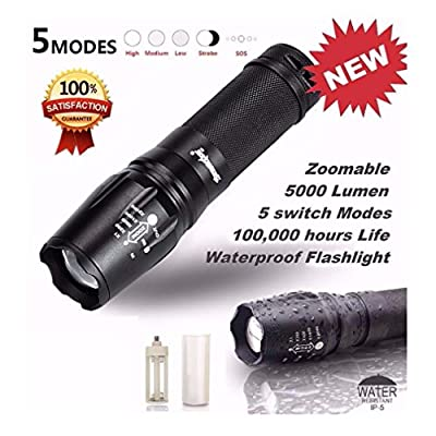 Iuhan Fashion 5000 Lumen 5 Modes T6 Zoomable LED 18650 Flashlight Torch Lamp Light G700 X800