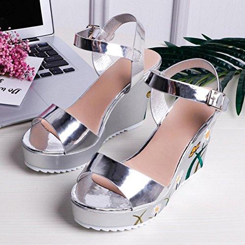 Zapatos de vestir, SHOBDW Cabeza de la plataforma del verano de la manera de las mujeres con los zapatos de los holgazanes de las sandalias de los fracasos de tirón Plata