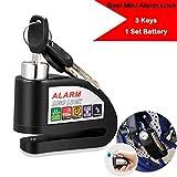 [US STOCK] Alarm Disc Brake Lock, Portable Anti-theft Mini Bicycle Motorcycle Motorbike Alarm Disc Lock, 110dB Alarm Sound with 3 Keys and 1 Set Battery (Black)