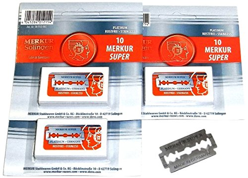 Merkur Super Platinum Blades for All Standard Double Edge Safety Razors, 3 ct.
