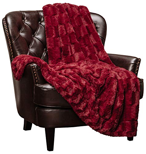 Chanasya Super Soft Fuzzy Faux Fur Elegant Rectangular Embossed Throw Blanket | Fluffy Plush Sherpa Cozy Microfiber Red Blanket for Bed Couch Living Room Fall Winter Spring (50