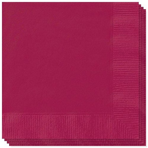 E & D Creations 200 Pack 3-Ply Super Thick Super Absorbent 5-inch x 5-inch Beverage Napkin Cocktail Napkin 1/4 Fold (Burgundy)