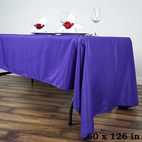 (LinenTablecloth 60 x 126-Inch Rectangular Polyester Tablecloth Purple)