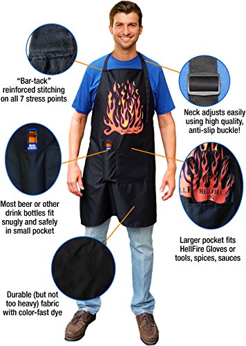 HellFire BBQ Black Apron Big Full Size Adult With 2 Large Pockets - Men Or Women Who Barbecue Or Cook In Kitchens Love This Fun Accessory's Attitude - Premium Quality XL Long Bib Apron