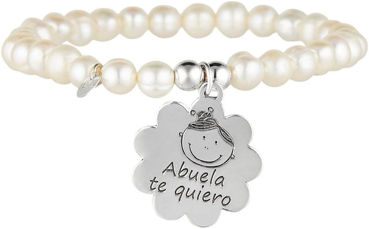Córdoba Jewels | Pulsera en Plata de Ley 925 con diseño Abuela Te Quiero Perla