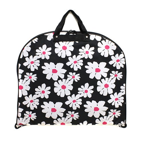 [luggage garment bag daisy flower black white] (Theatre Costume Closet)